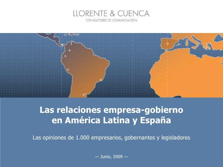 Las relaciones empresa-gobierno en América Latina y España Las opiniones de 1.000 empresarios, gobernantes y legisladores ...