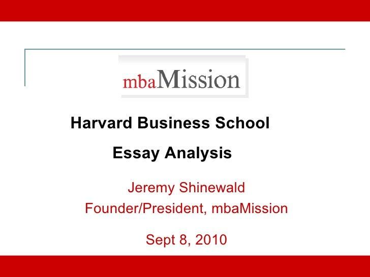Breakdown of Harvard Business School Admissions Essays
