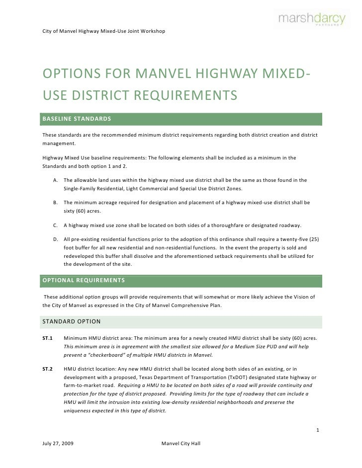 Options for Manvel Highway Mixed-Use District Requirements<br />Baseline Standards<br />These standards are the recommende...