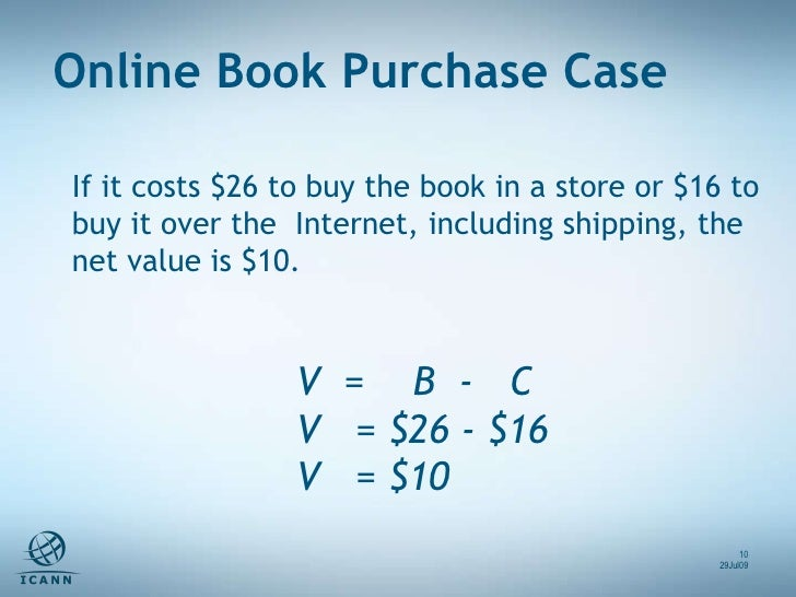 V  =  B  -  C V  = $26 - $16 V  = $10  If it costs $26 to buy the book in a store or $16 to buy it over the  Internet, inc...