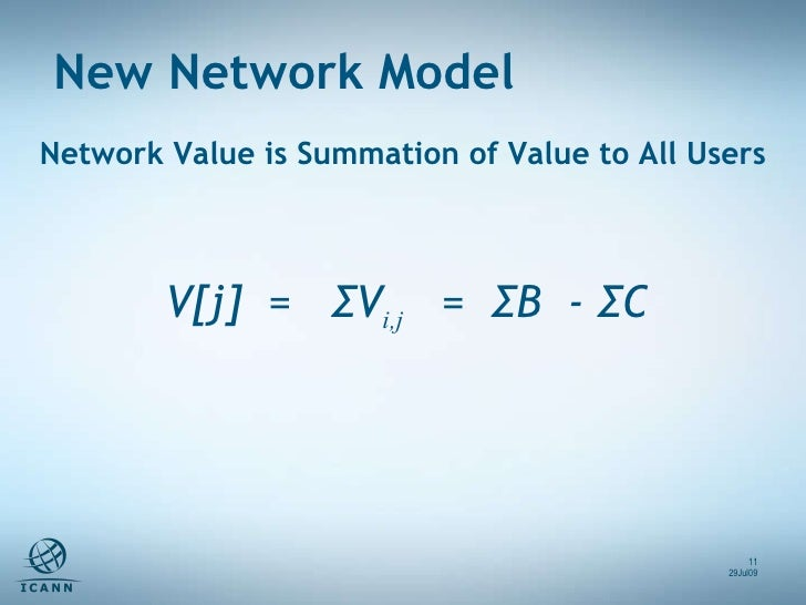 V[j]  =  ΣV i,j   =  ΣB  - ΣC  Network Value is Summation of Value to All Users New Network Model 29Jul09