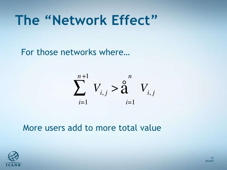 """For those networks where… The """"Network Effect"""" 29Jul09 More users add to more total value"""