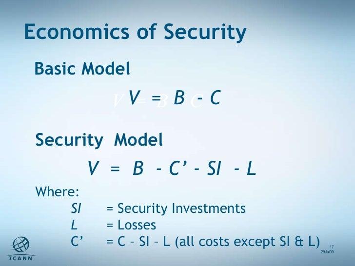 Where: SI = Security Investments L  = Losses C'  = C – SI – L (all costs except SI & L) V  =  B  - C' - SI  - L  Security ...