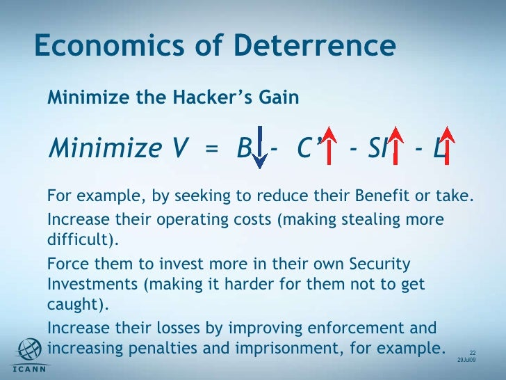 Minimize the Hacker's Gain Minimize V  =  B  -  C'  - SI  - L  For example, by seeking to reduce their Benefit or take. In...