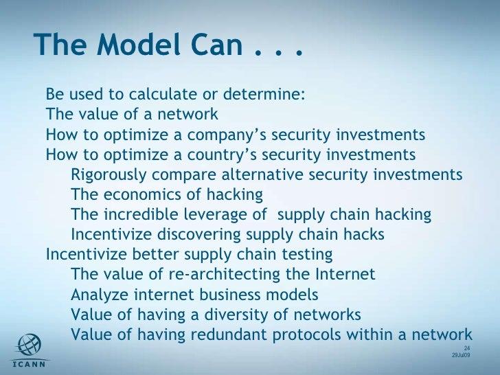 <ul><li>Be used to calculate or determine: </li></ul><ul><li>The value of a network  </li></ul><ul><li>How to optimize a c...