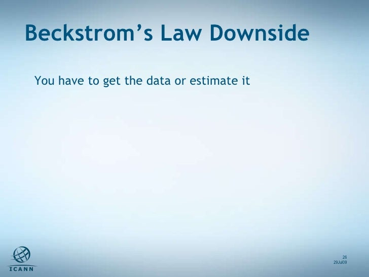 You have to get the data or estimate it Beckstrom's Law Downside 29Jul09