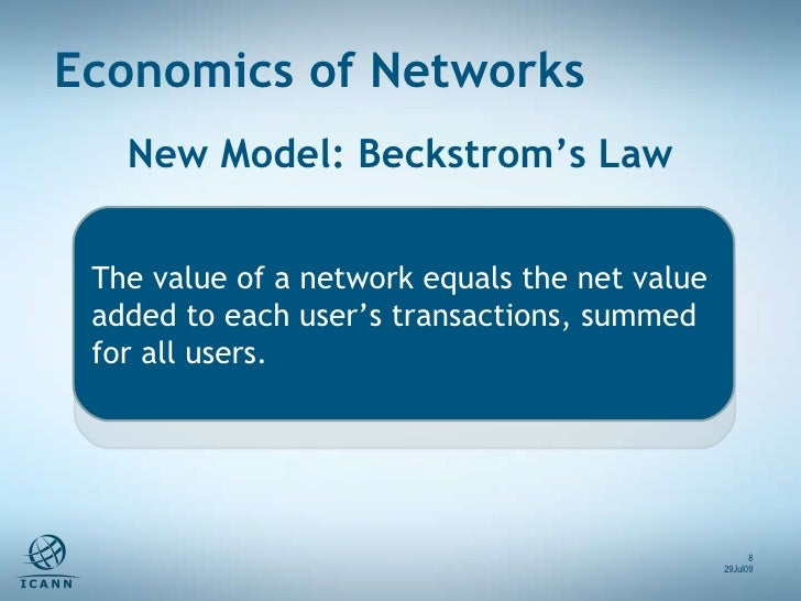New Model: Beckstrom's Law Economics of Networks 29Jul09 The value of a network equals the net value added to each user's ...