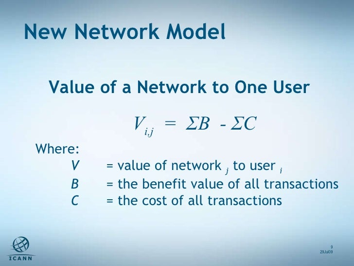 V i,j   =  ΣB  - ΣC  Where: V  = value of network  j  to user  i B  = the benefit value of all transactions C  = the cost ...