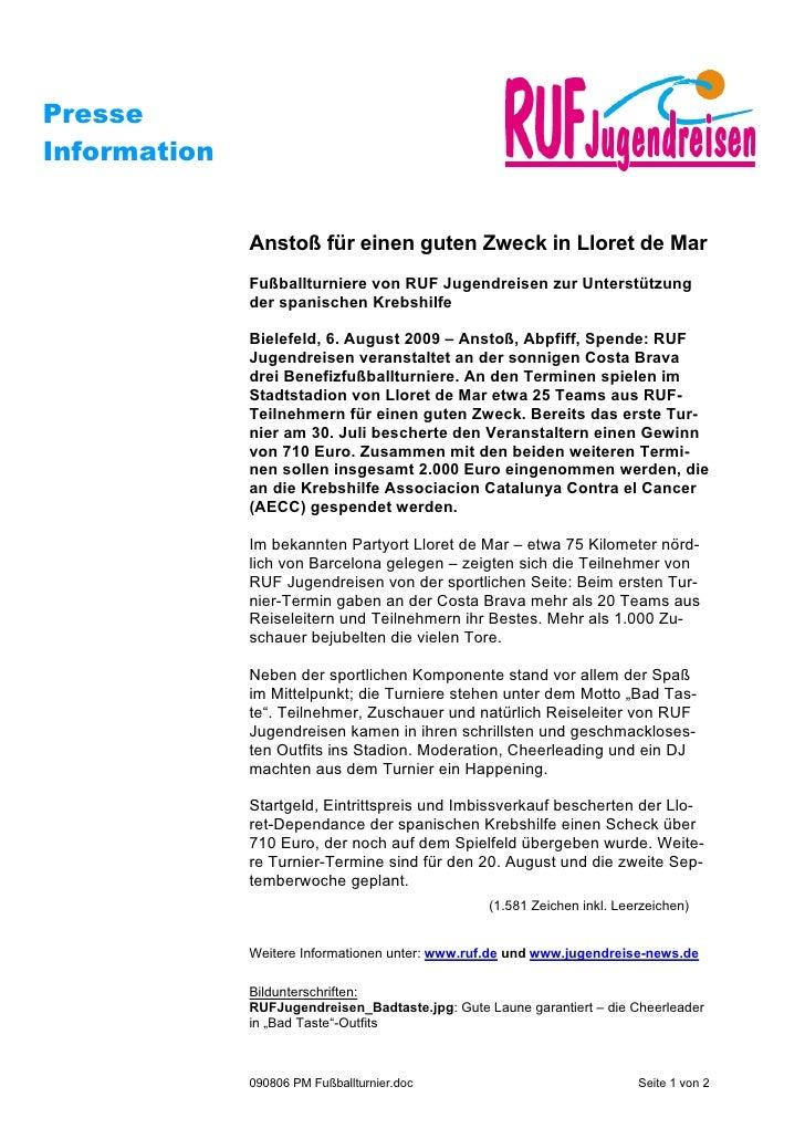 PresseInformation              Anstoß für einen guten Zweck in Lloret de Mar              Fußballturniere von RUF Jugendre...