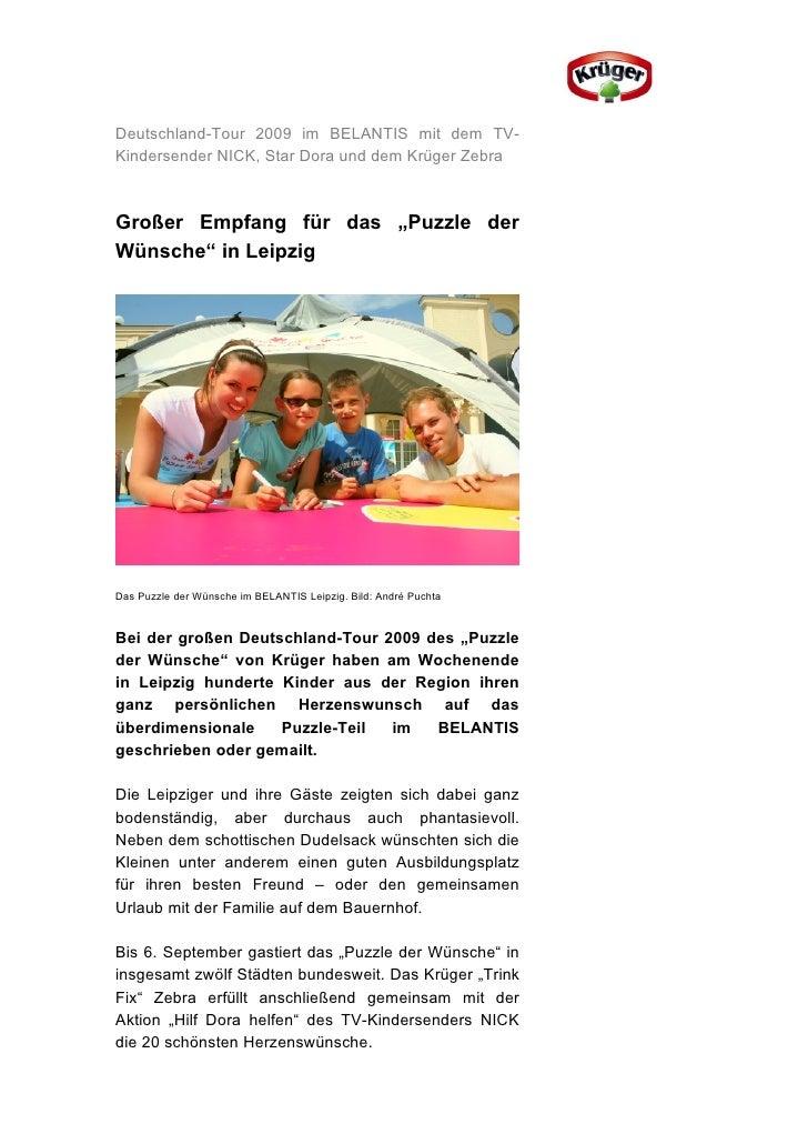 """Deutschland-Tour 2009 im BELANTIS mit dem TV-Kindersender NICK, Star Dora und dem Krüger ZebraGroßer Empfang für das """"Puzz..."""