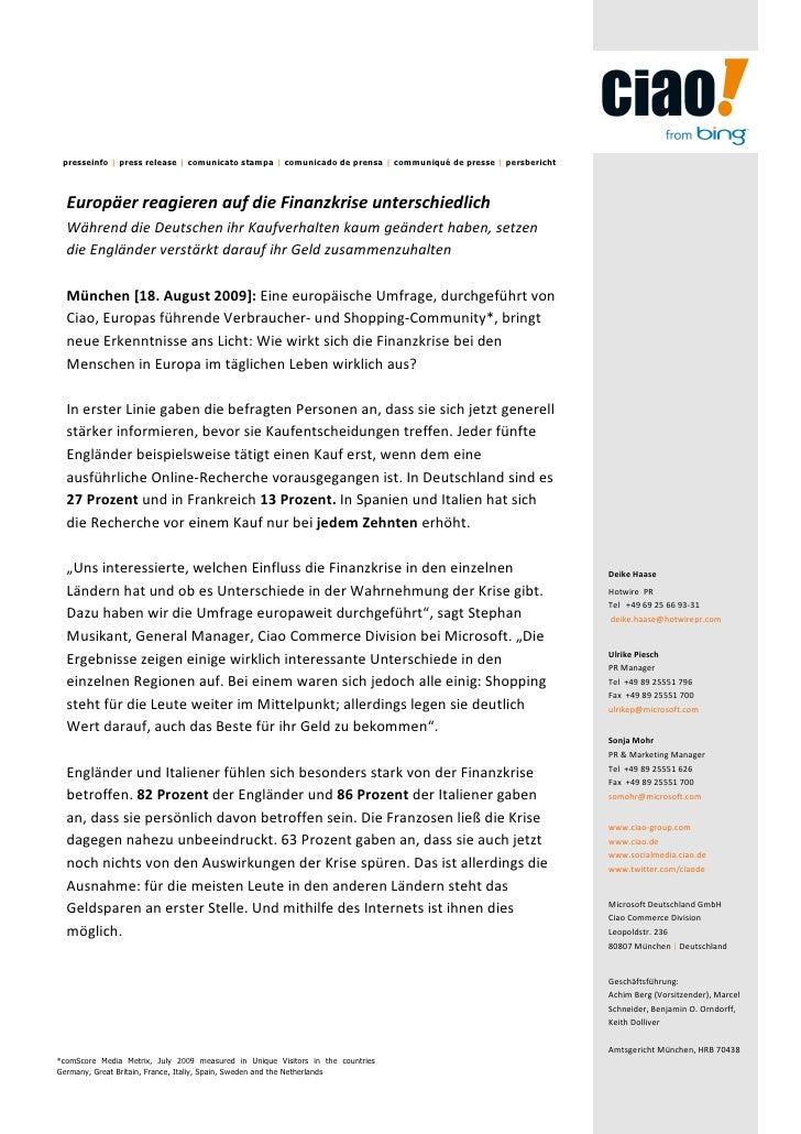 presseinfo | press release | comunicato stampa | comunicado de prensa | communiqué de presse | persbericht  Europäer reagi...