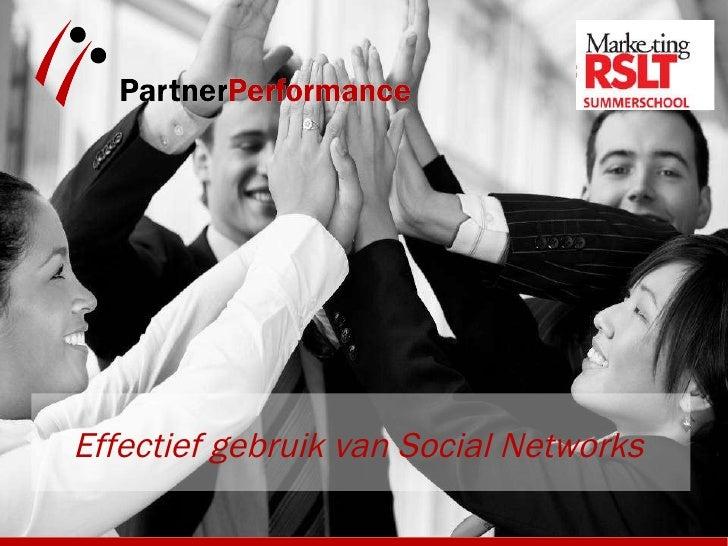 Effectief gebruik van Social Networks