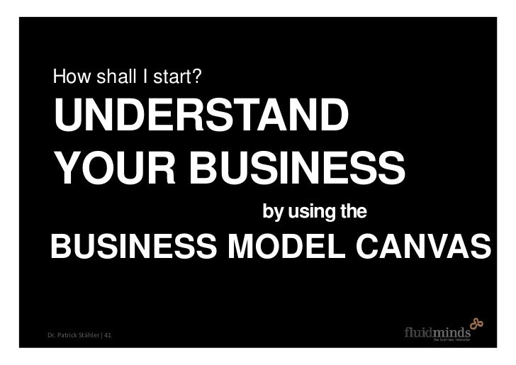 How shall I start?   UNDERSTAND  YOUR BUSINESS                            by using the  BUSINESS MODEL CANVAS  Dr. Patrick...
