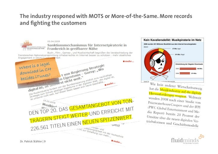 The industry responed with MOTS or More-of-the-Same. More records and fighting the customers     Dr. Patrick Stähler | 9