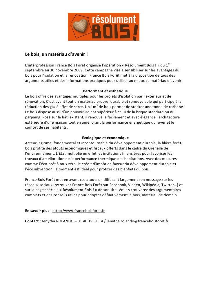 Lebois,unmatériaud'avenir!  L'interprofessionFranceBoisForêtorganisel'opération«RésolumentBois!...