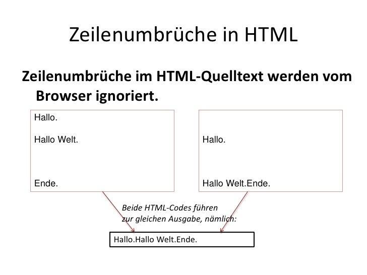 Zeilenumbrüche in HTML<br />Zeilenumbrüche im HTML-Quelltext werden vom Browser ignoriert.<br />Hallo.<br />Hallo Welt.<br...