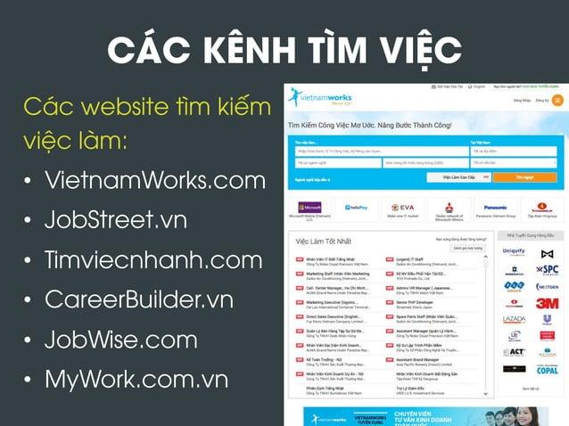 CÁC KÊNH TÌM VIỆC Các website tìm kiếm việc làm: • VietnamWorks.com • JobStreet.vn • Timviecnhanh.com • CareerBuilder....