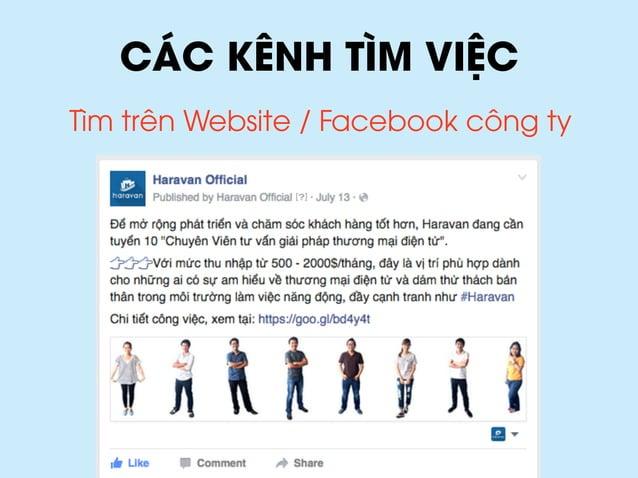 CÁC KÊNH TÌM VIỆC Tìm trên Website / Facebook công ty