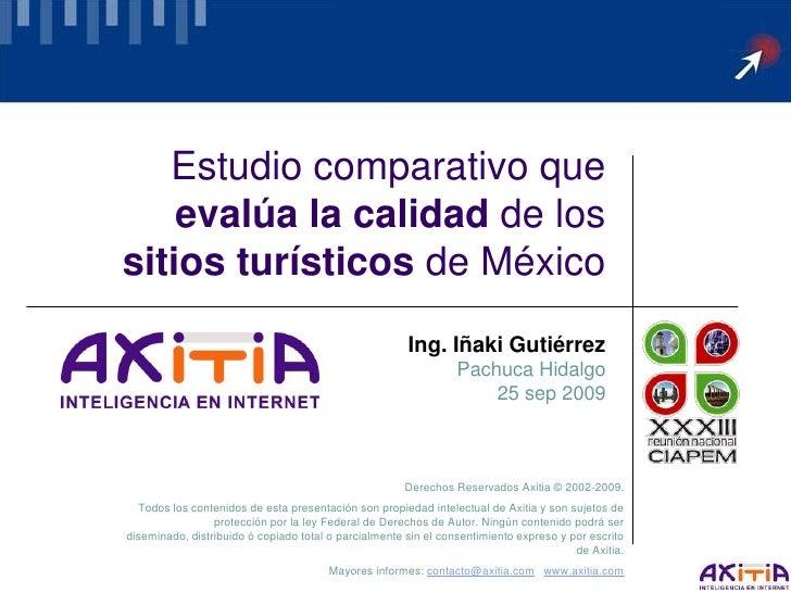 Estudio comparativo que     evalúa la calidad de los sitios turísticos de México                                          ...
