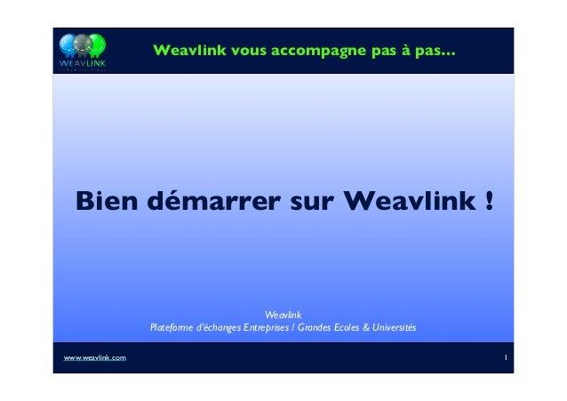 Bien démarrer sur Weavlink ! Weavlink vous accompagne pas à pas… Weavlink Plateforme d'échanges Entreprises / Grandes Ecol...