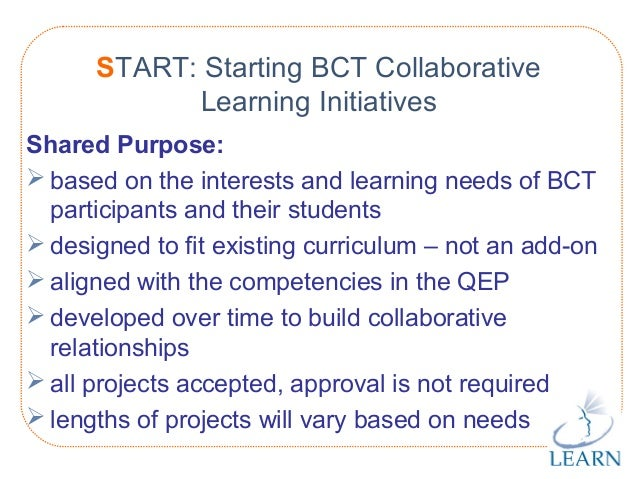 http://www.learnquebec.ca START: Starting BCT Collaborative Learning Initiatives Shared Purpose:  based on the interests ...