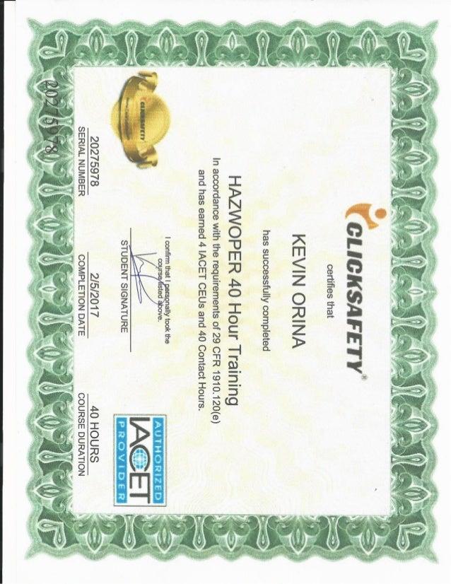 kevin orina-hazwoper 40 hour certificate