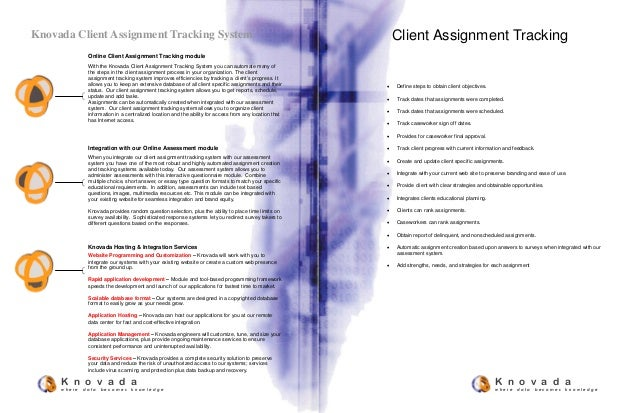 Online Client Assignment Tracking module With the Knovada Client Assignment Tracking System you can automate many of the s...