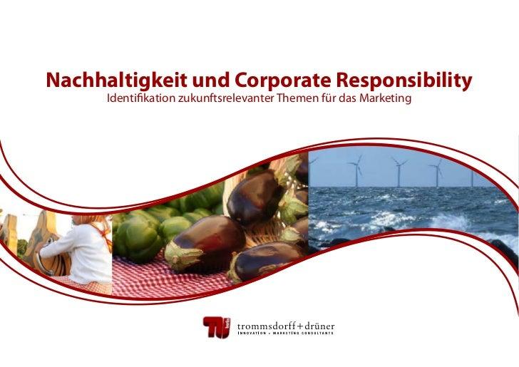 Nachhaltigkeit und Corporate Responsibility      Identifikation zukunftsrelevanter Themen für das Marketing