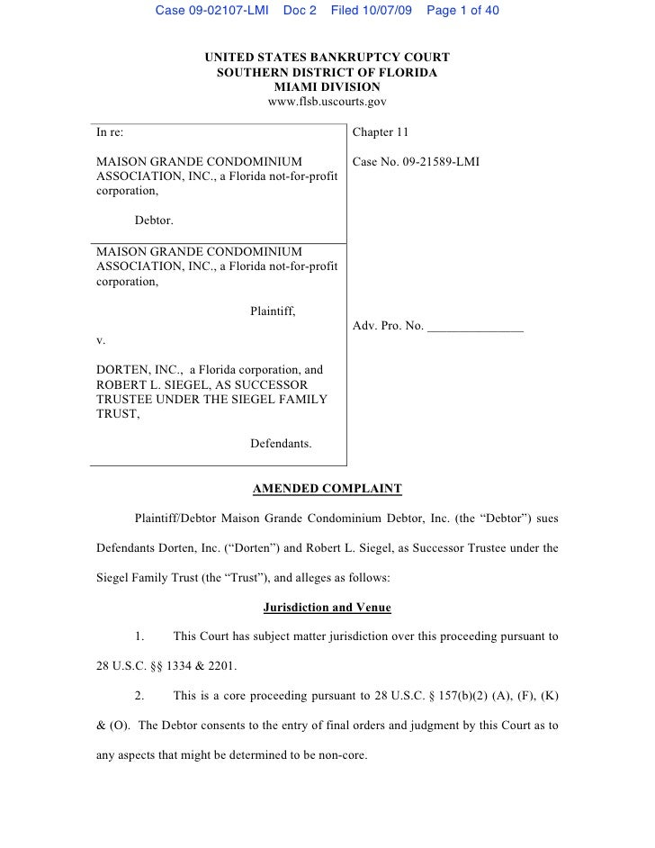 Case 09-02107-LMI      Doc 2    Filed 10/07/09     Page 1 of 40                         UNITED STATES BANKRUPTCY COURT    ...