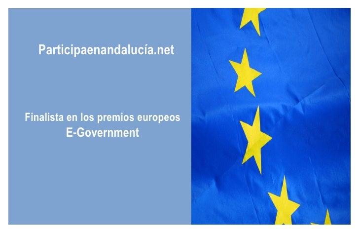 Participaenandalucía.net Finalista en los premios europeos  E-Government