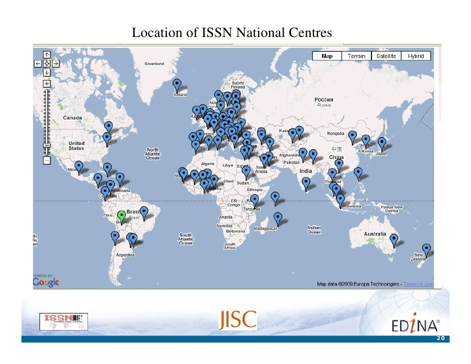 Location of ISSN National Centres                                         20
