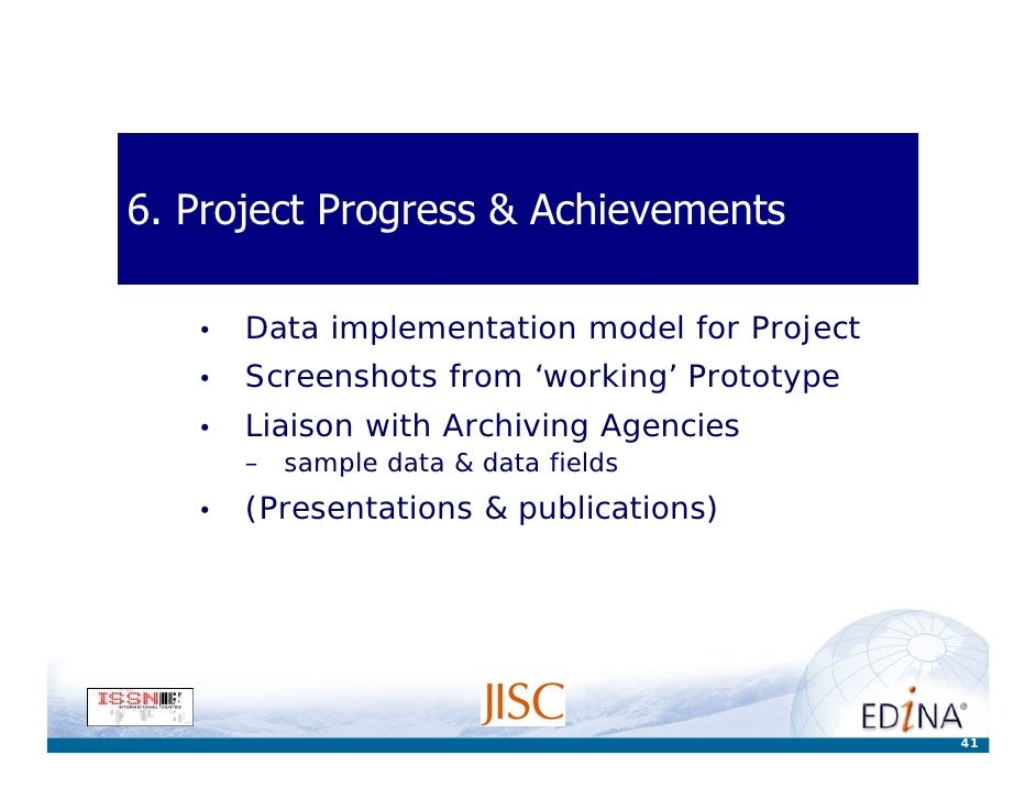 6. Project Progress & Achievements     •   Data implementation model for Project    •   Screenshots from 'working' Prototy...