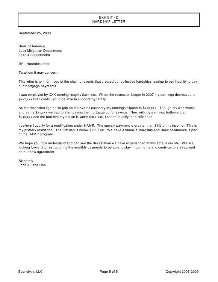 sample hardship letter for mortgage modification