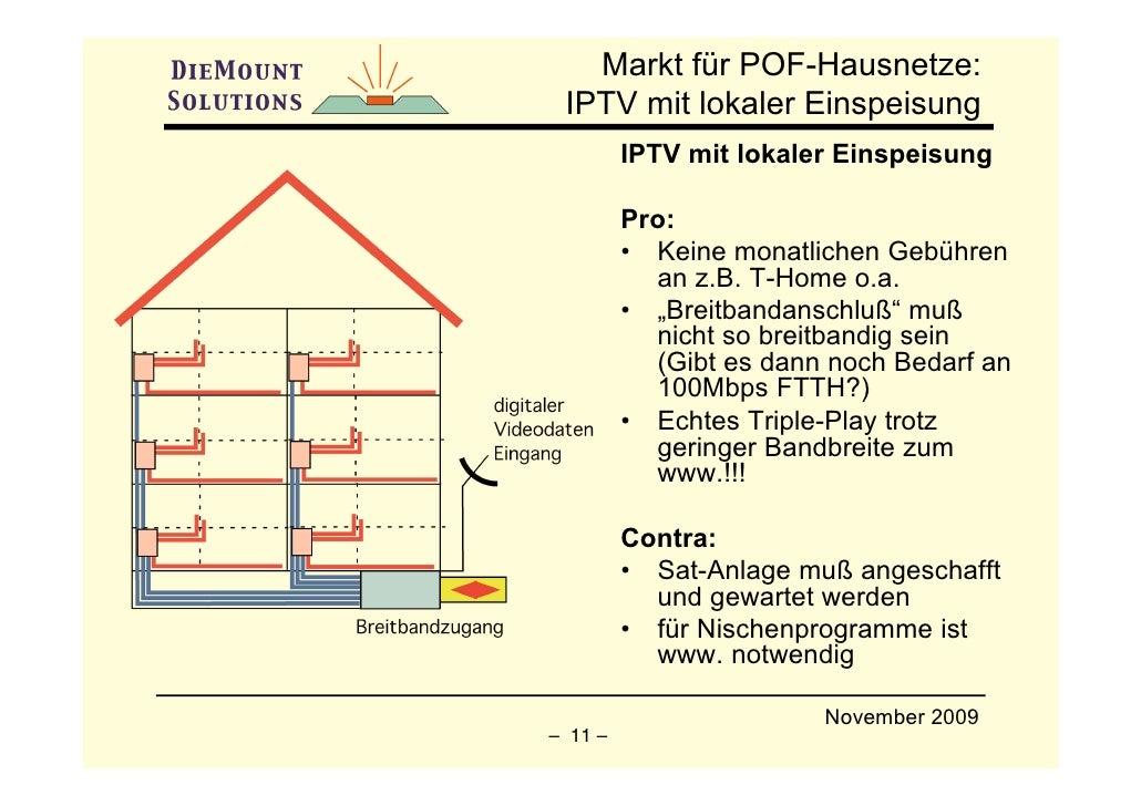Markt für POF-Hausnetze:  IPTV mit lokaler Einspeisung          IPTV mit lokaler Einspeisung           Pro:          • Kei...