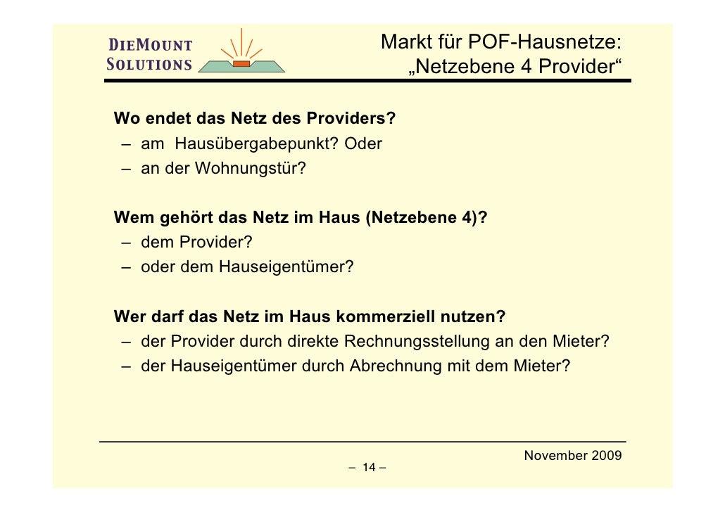 """Markt für POF-Hausnetze:                                    """"Netzebene 4 Provider""""  Wo endet das Netz des Providers? – am ..."""