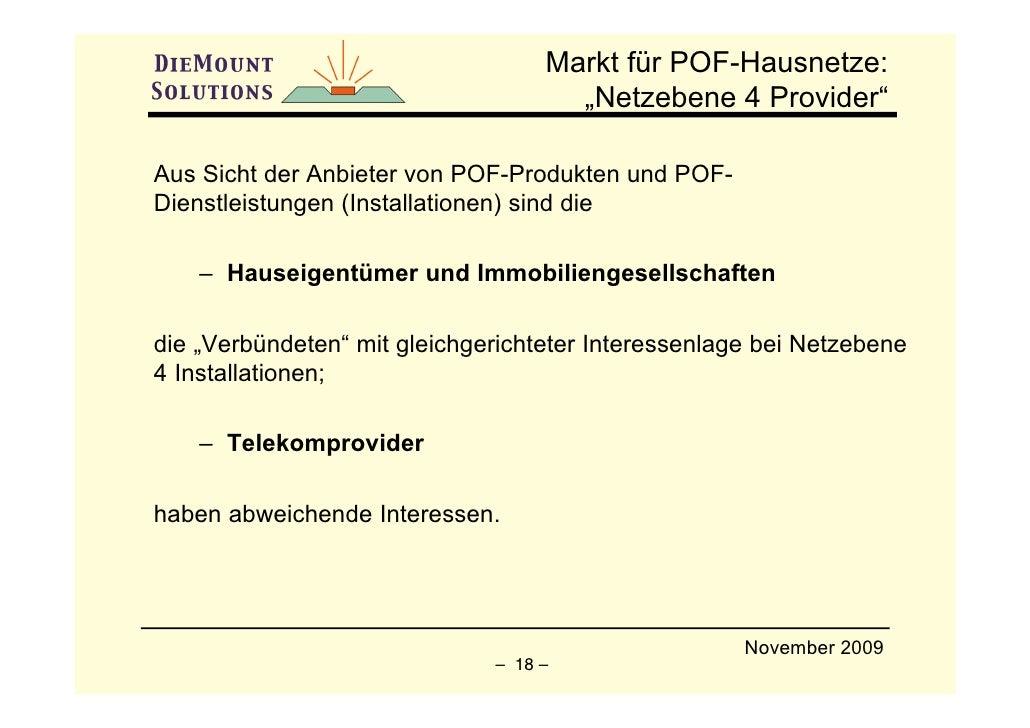 """Markt für POF-Hausnetze:                                      """"Netzebene 4 Provider""""  Aus Sicht der Anbieter von POF-Produ..."""
