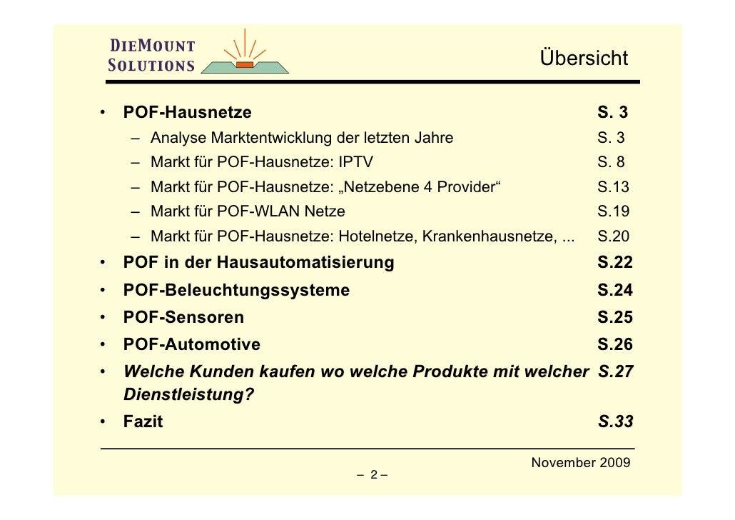 Übersicht  •   POF-Hausnetze                                                  S. 3     – Analyse Marktentwicklung der letz...