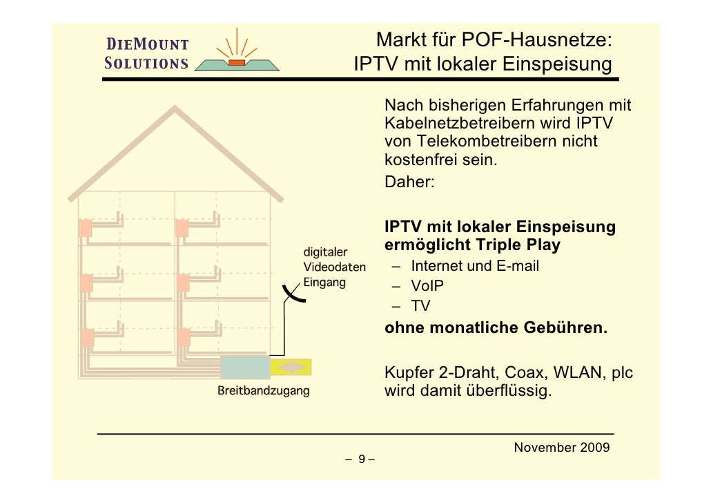 Markt für POF-Hausnetze:  IPTV mit lokaler Einspeisung        Nach bisherigen Erfahrungen mit        Kabelnetzbetreibern w...