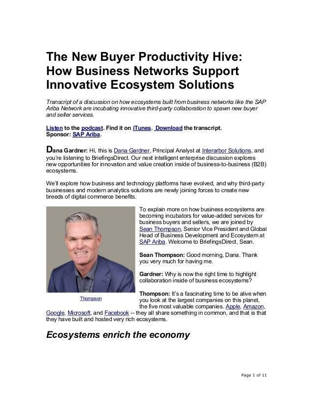 Page 1 of 11 The New Buyer Productivity Hive: How Business Networks Support Innovative Ecosystem Solutions Transcript of a...