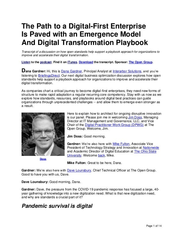 Page 1 of 14 The Path to a Digital-First Enterprise Is Paved with an Emergence Model And Digital Transformation Playbook T...