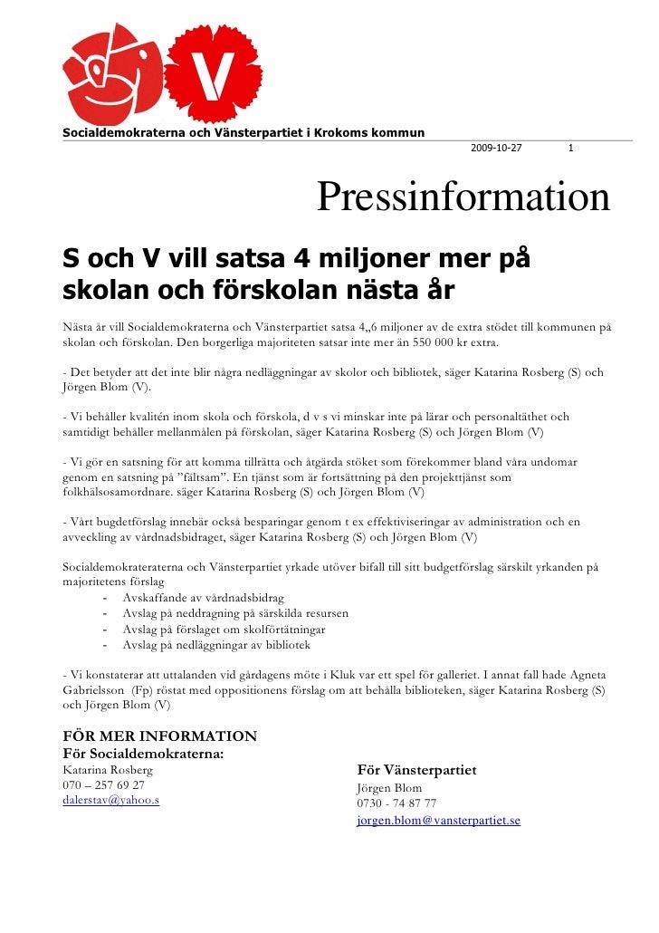 Socialdemokraterna och Vänsterpartiet i Krokoms kommun                                                                    ...