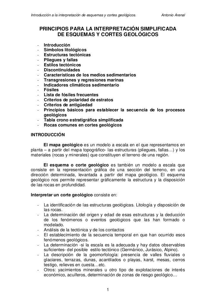 Introducción a la interpretación de esquemas y cortes geológicos.      Antonio Arenal           PRINCIPIOS PARA LA INTERPR...