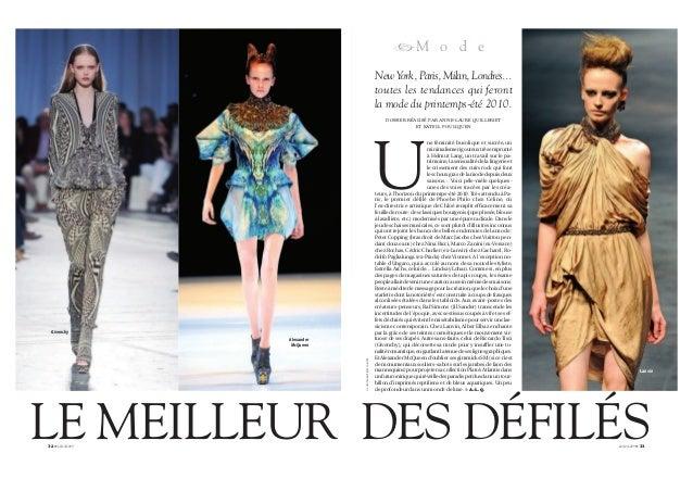 32 G 22/10/2009 Givenchy Alexander McQueen LE MEILLEUR 22/10/2009 G 33 Lanvin RM o d e U ne féminité bucolique et sucrée, ...