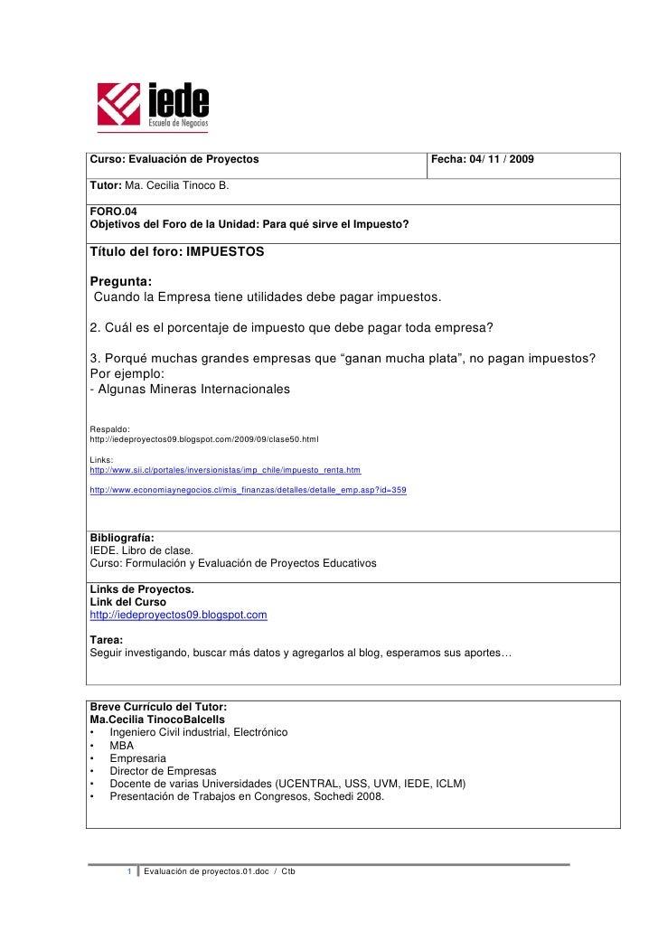 Curso: Evaluación de Proyectos                                                 Fecha: 04/ 11 / 2009  Tutor: Ma. Cecilia Ti...