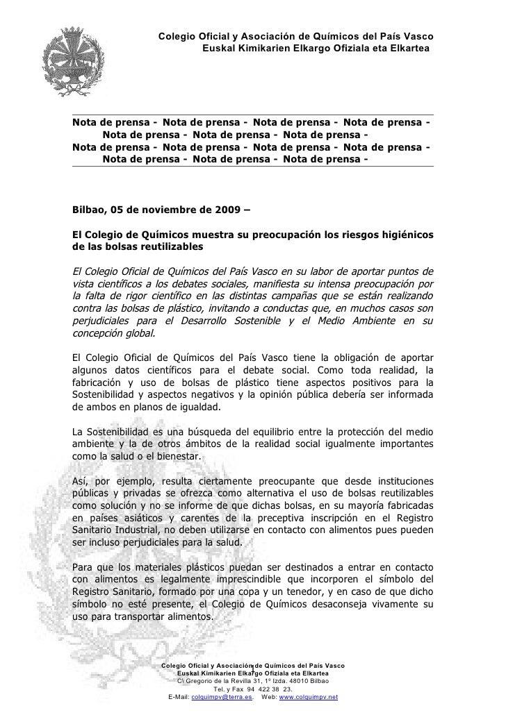 Colegio Oficial y Asociación de Químicos del País Vasco                            Euskal Kimikarien Elkargo Ofiziala eta ...