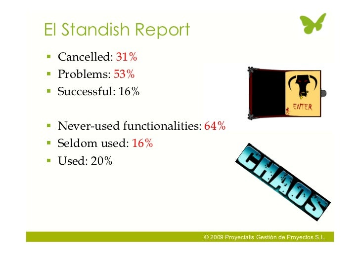 El Standish Report  Cancelled: 31%  Problems: 53%  Successful: 16%   Never-used functionalities: 64%  Seldom used: 16...
