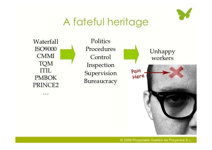 A fateful heritage Waterfall          Politics ISO9000         Procedures                      Unhappy  CMMI             C...