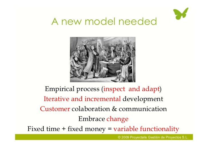 A new model needed          Empirical process (inspect and adapt)      Iterative and incremental development     Customer ...