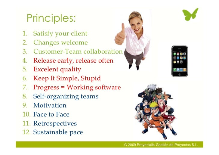 Principles: 1.    Satisfy your client 2.    Changes welcome 3.    Customer-Team collaboration 4.    Release early, release...
