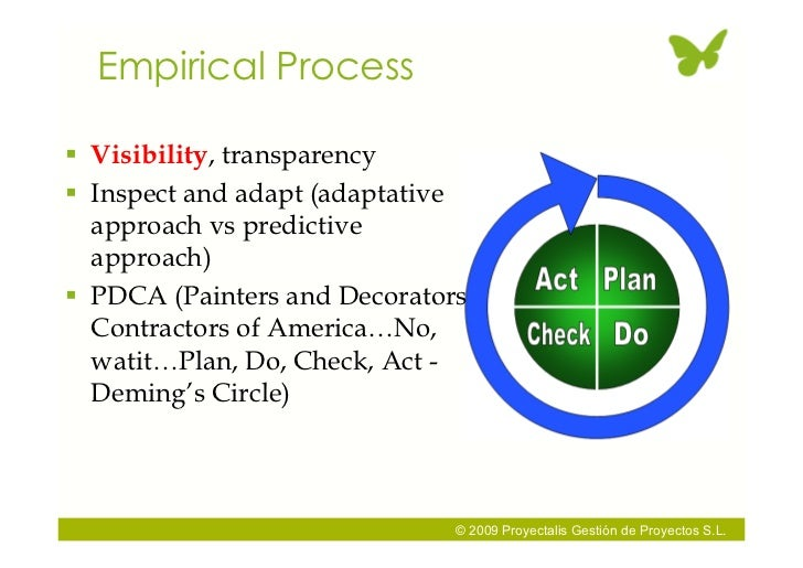 Empirical Process   Visibility, transparency  Inspect and adapt (adaptative   approach vs predictive   approach)  PDCA ...